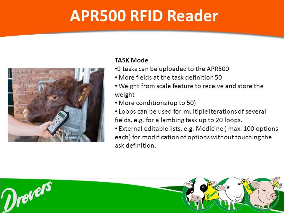 APR500 RFID Reader TASK Mode 9 tasks can be uploaded to the APR500