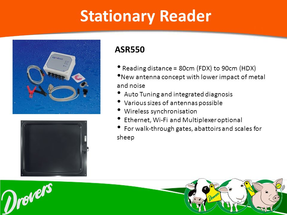 Stationary Reader ASR550 Reading distance = 80cm (FDX) to 90cm (HDX)