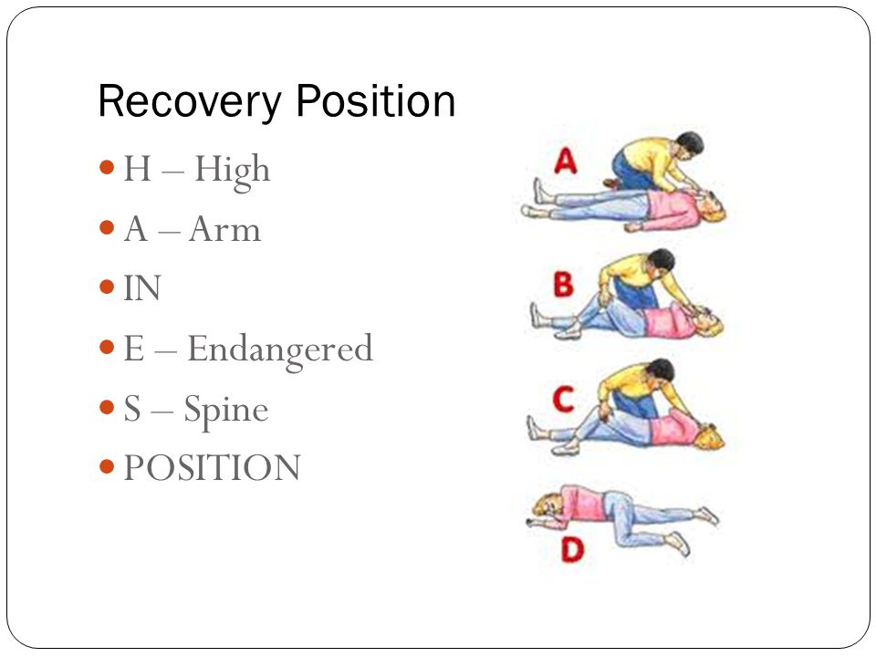 Recovery Position H – High A – Arm IN E – Endangered S – Spine