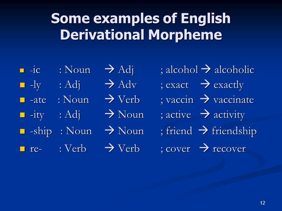 Some examples of English Derivational Morpheme