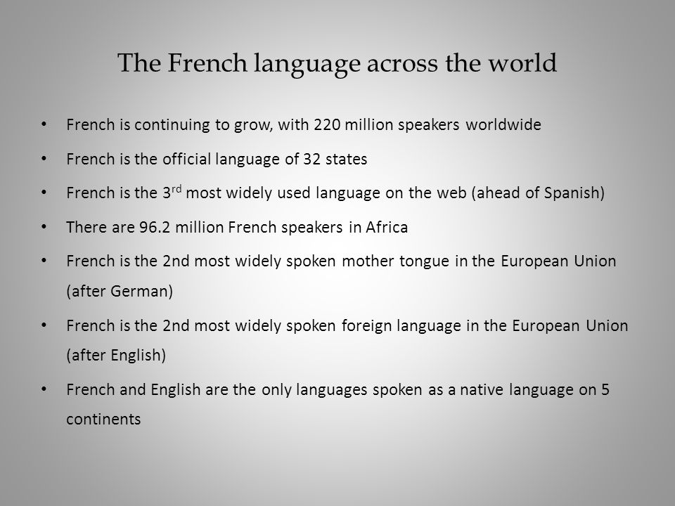 The French language across the world
