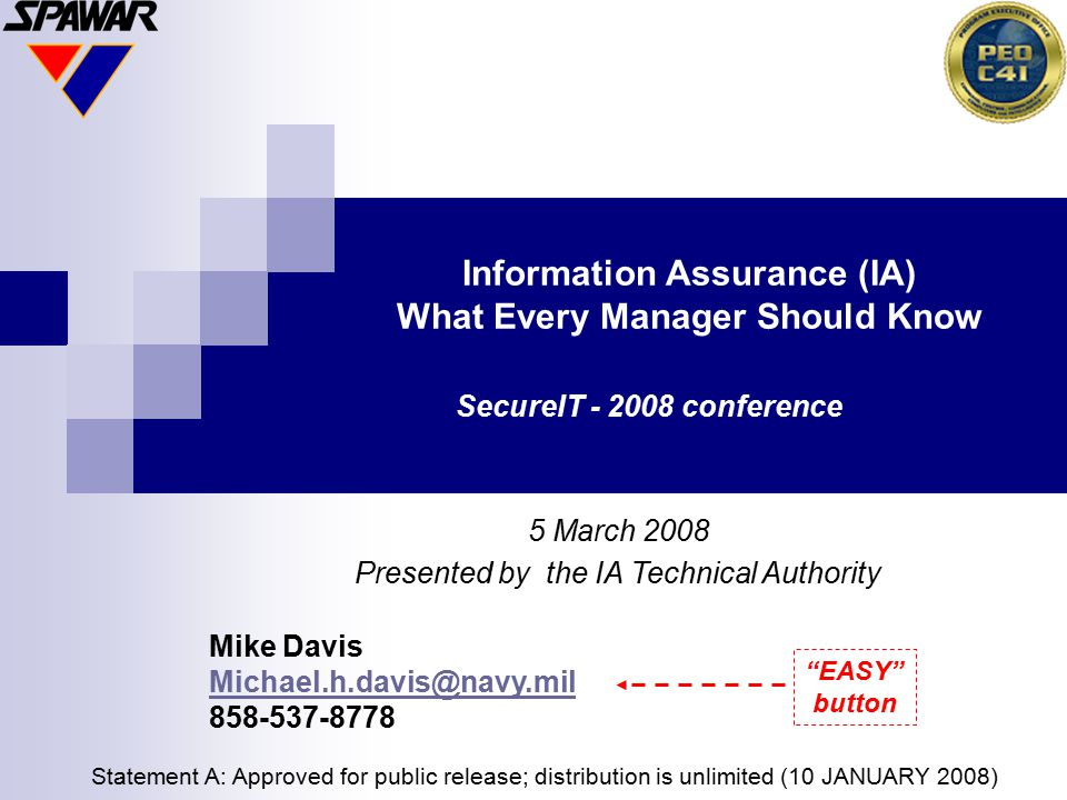 Information Assurance (IA) What Every Manager Should Know