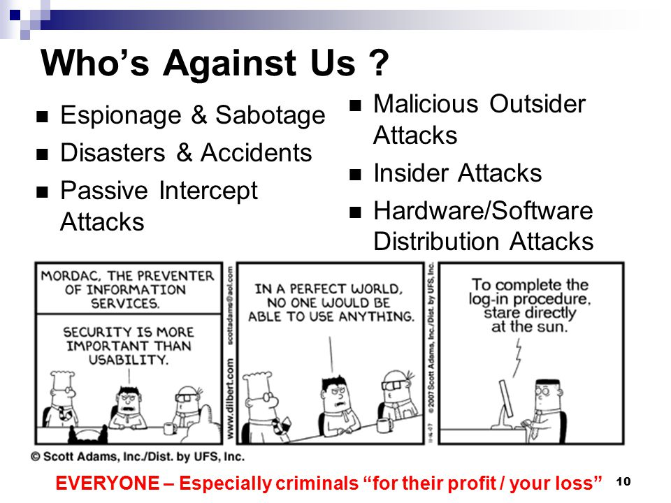 Who's Against Us Malicious Outsider Attacks Espionage & Sabotage