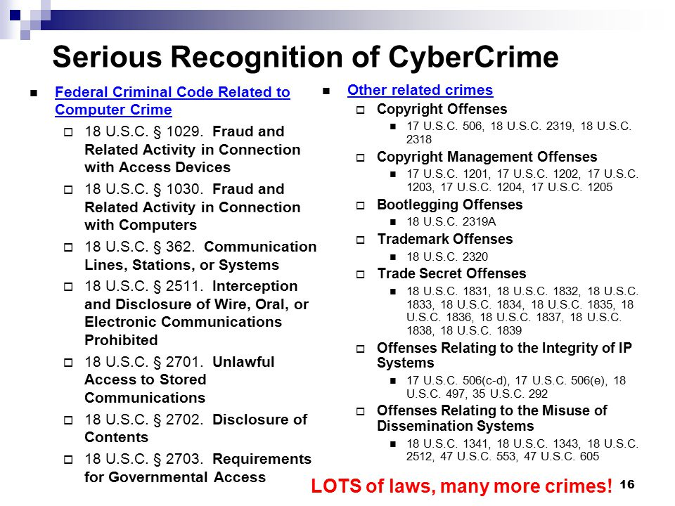Serious Recognition of CyberCrime