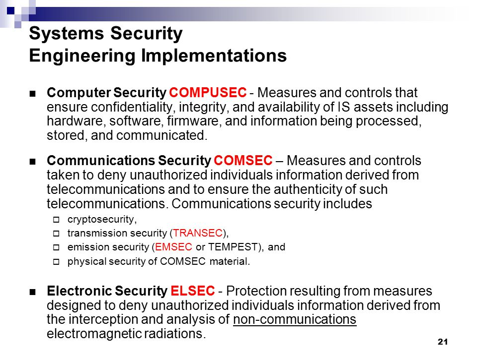 Systems Security Engineering Implementations