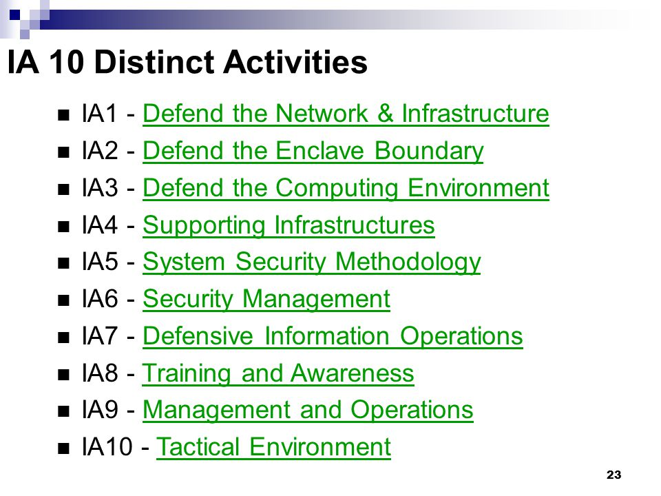 IA 10 Distinct Activities
