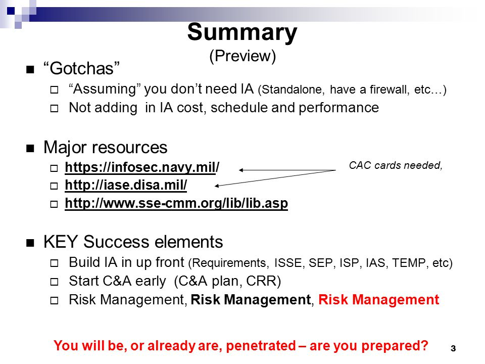 Summary (Preview) Gotchas Major resources KEY Success elements