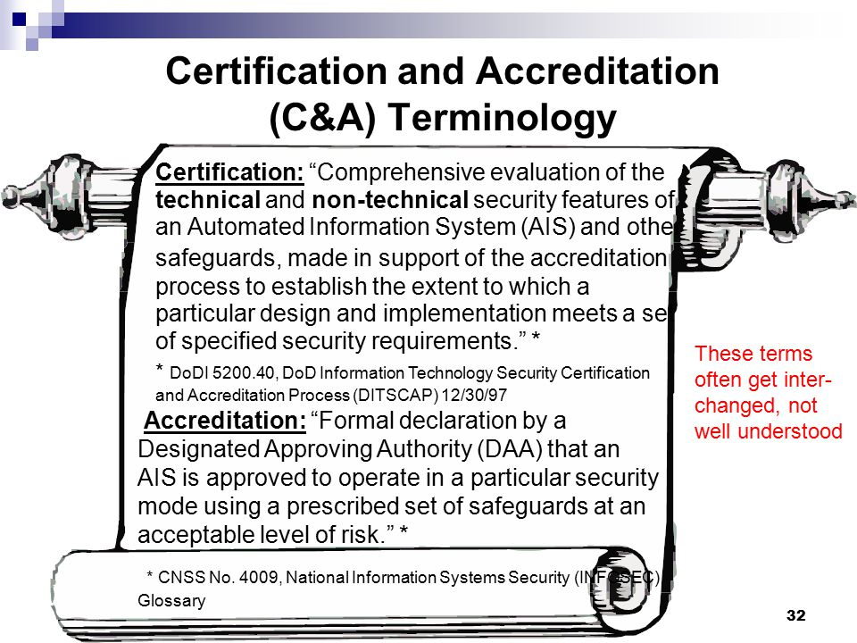 Certification and Accreditation (C&A) Terminology