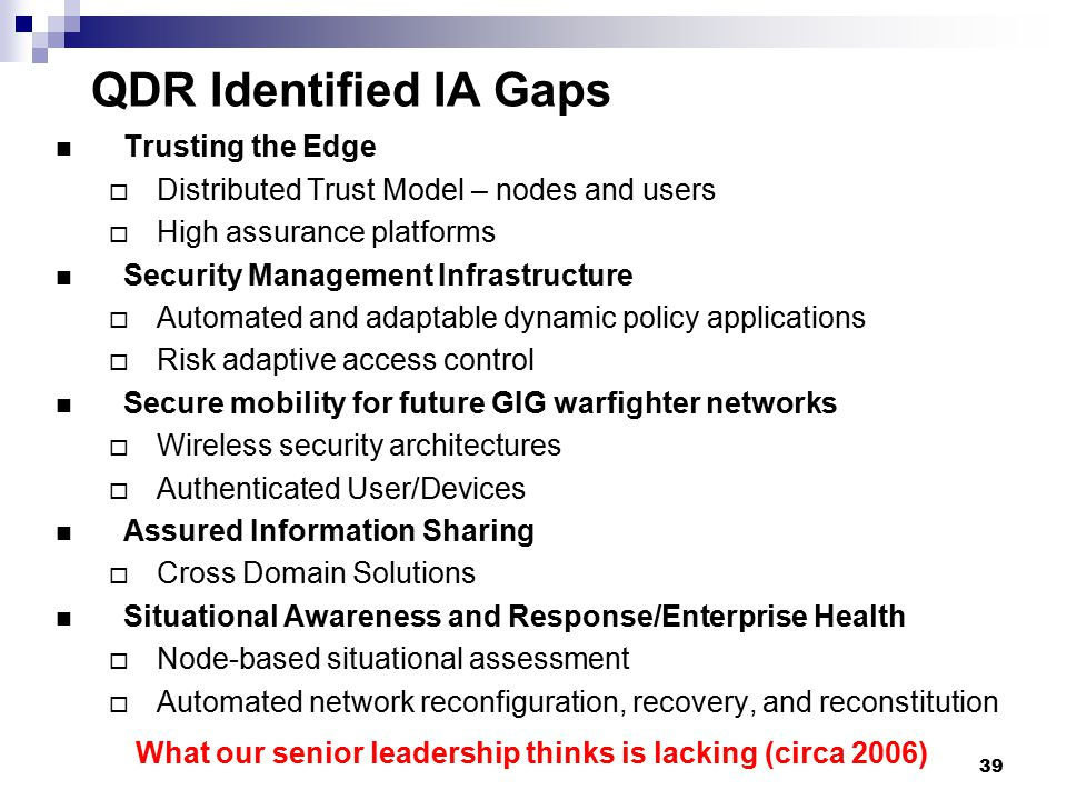 QDR Identified IA Gaps Trusting the Edge