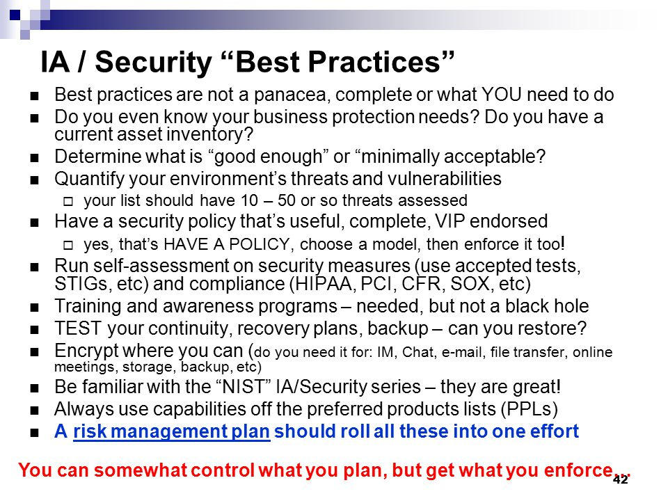 IA / Security Best Practices