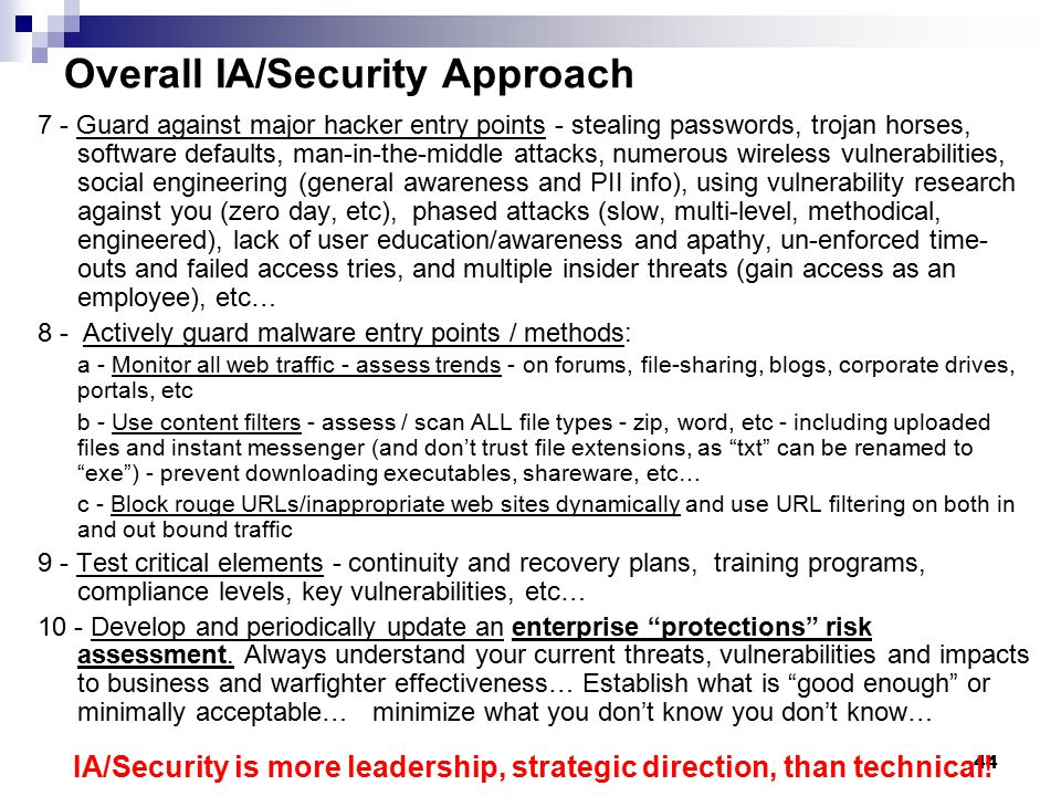 Overall IA/Security Approach