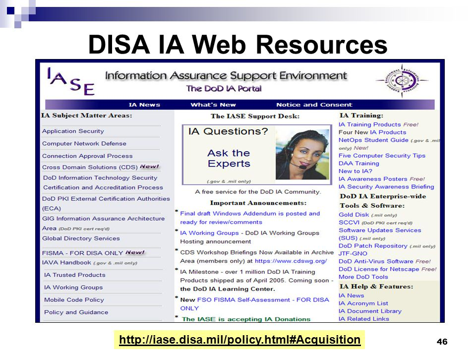 DISA IA Web Resources