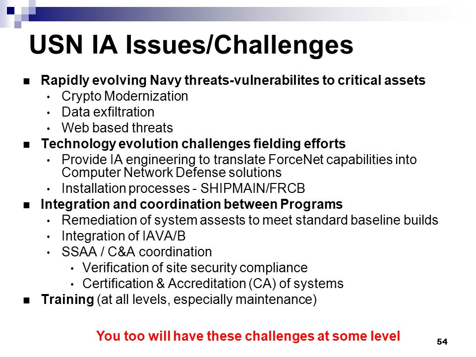 USN IA Issues/Challenges