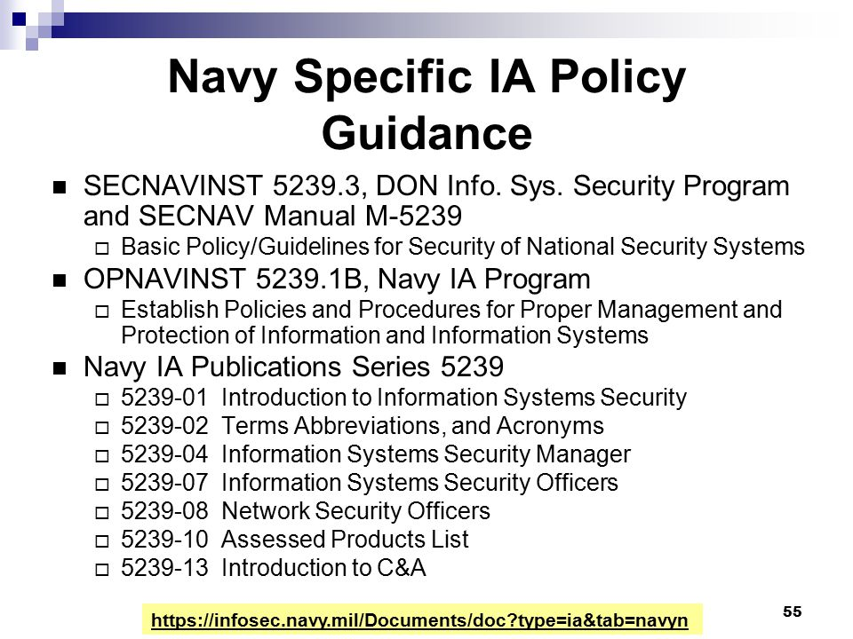 Navy Specific IA Policy Guidance