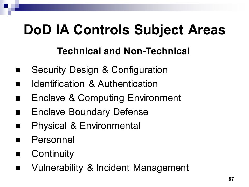 DoD IA Controls Subject Areas