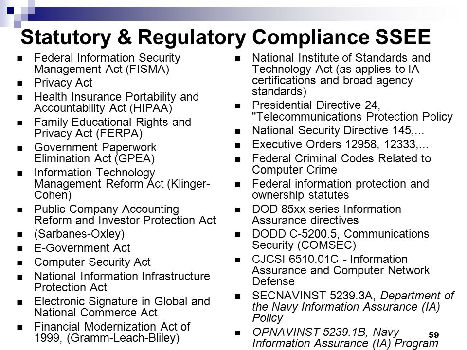 Statutory & Regulatory Compliance SSEE