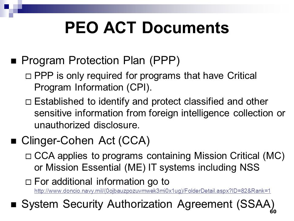 PEO ACT Documents Program Protection Plan (PPP)