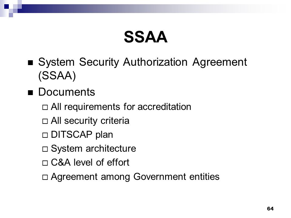 SSAA System Security Authorization Agreement (SSAA) Documents