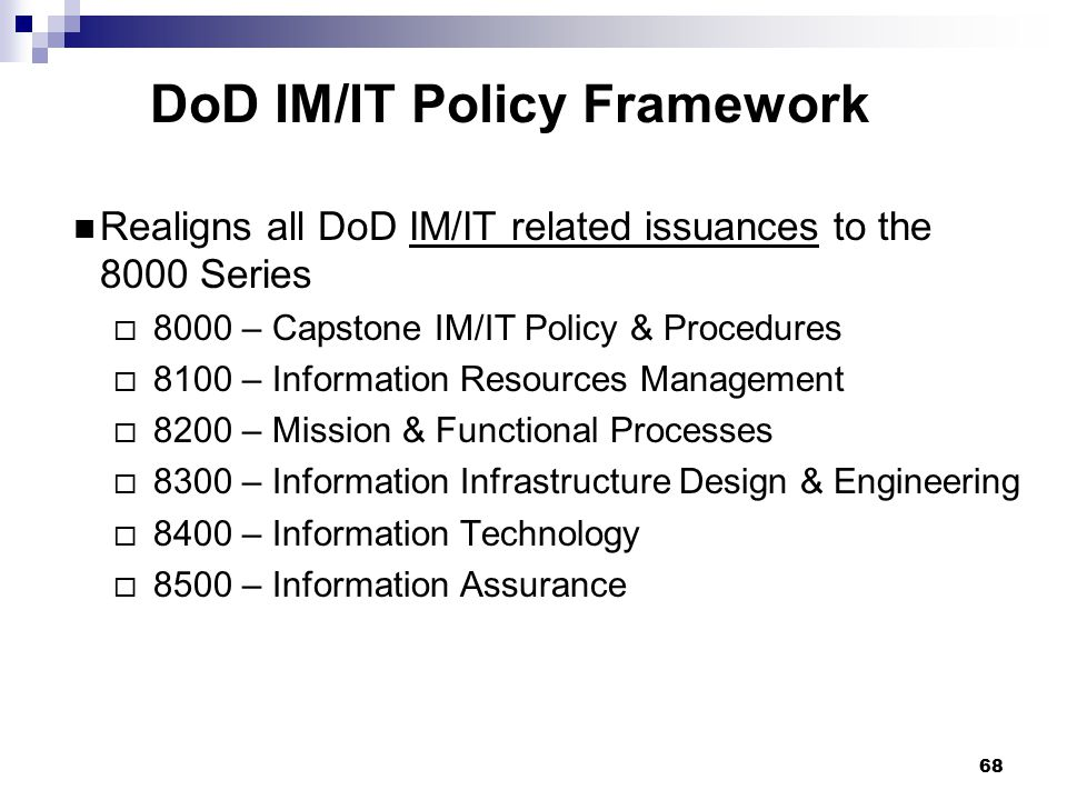 DoD IM/IT Policy Framework