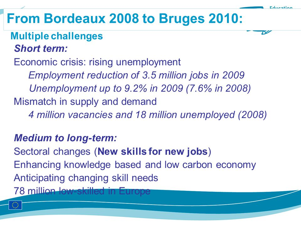 From Bordeaux 2008 to Bruges 2010: Multiple challenges