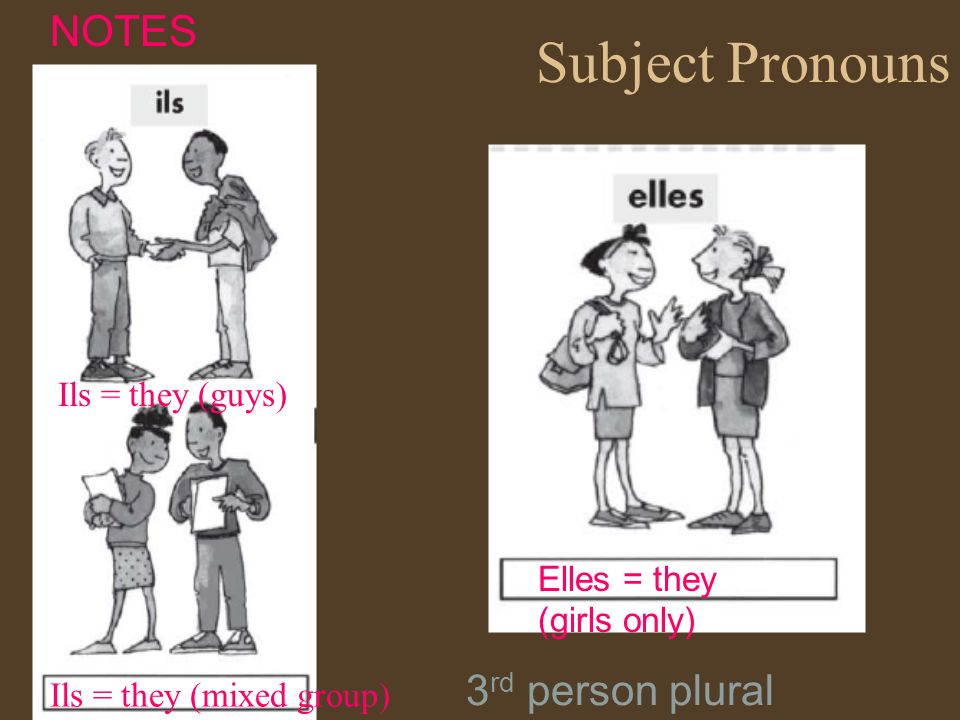 Subject Pronouns NOTES 3rd person plural Ils = they (guys)