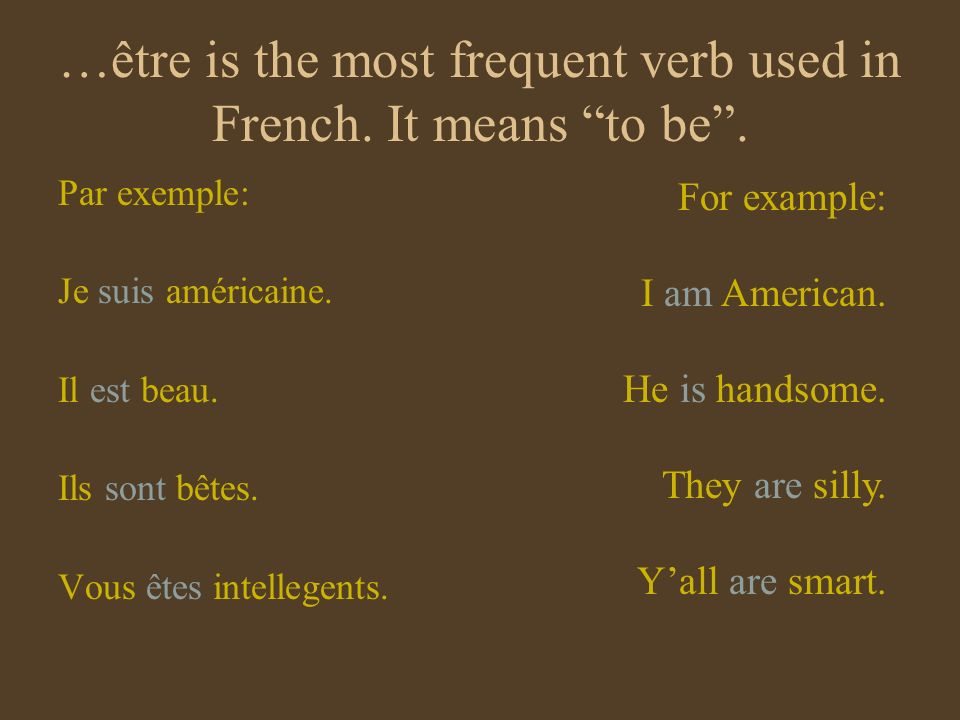 …être is the most frequent verb used in French. It means to be .