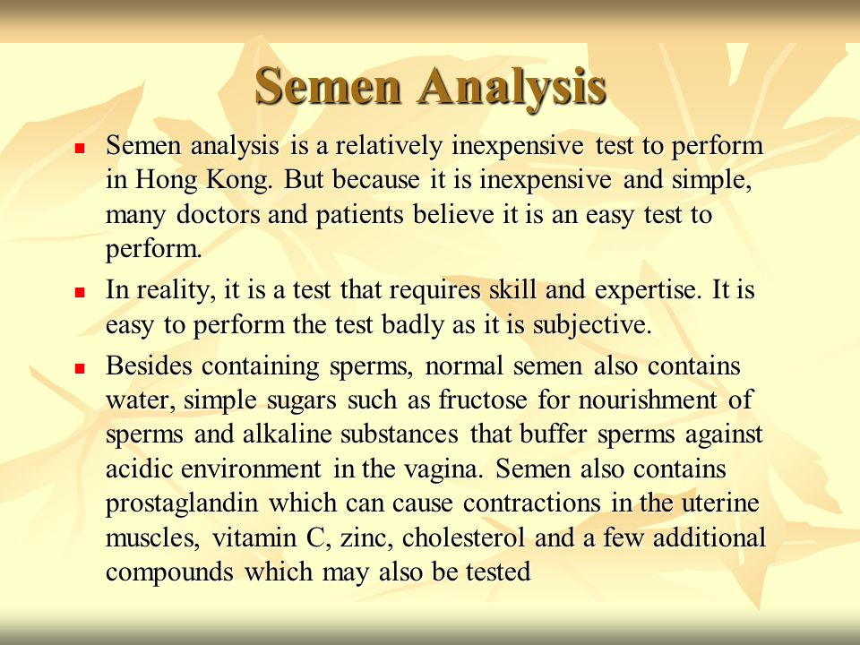 Good idea semen analysis showed no sperm mine the