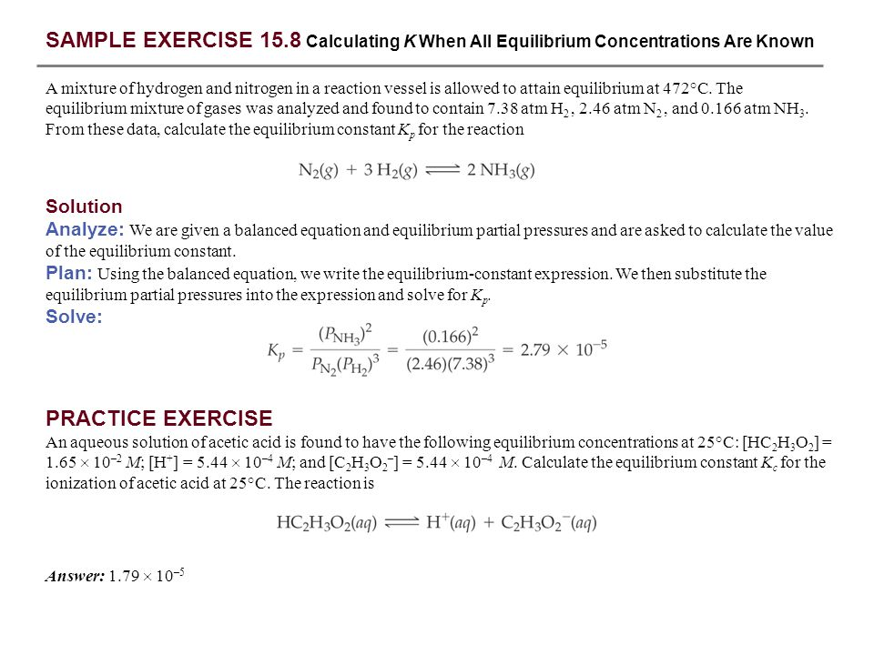 SAMPLE EXERCISE 15 1 Writing Equilibrium-Constant