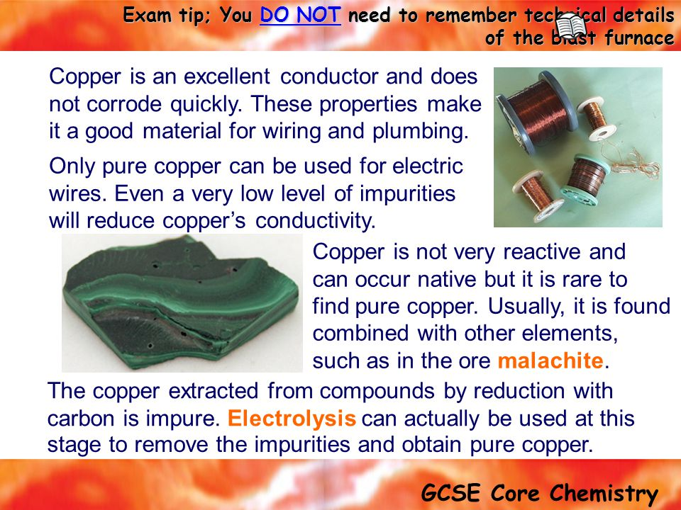Copper is not very reactive and can occur native but it is rare to
