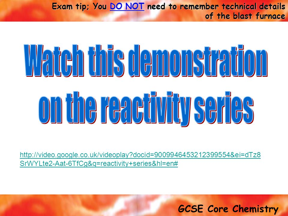 Watch this demonstration on the reactivity series