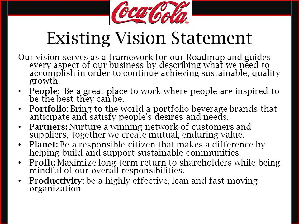 vision and mission statement of coca cola company