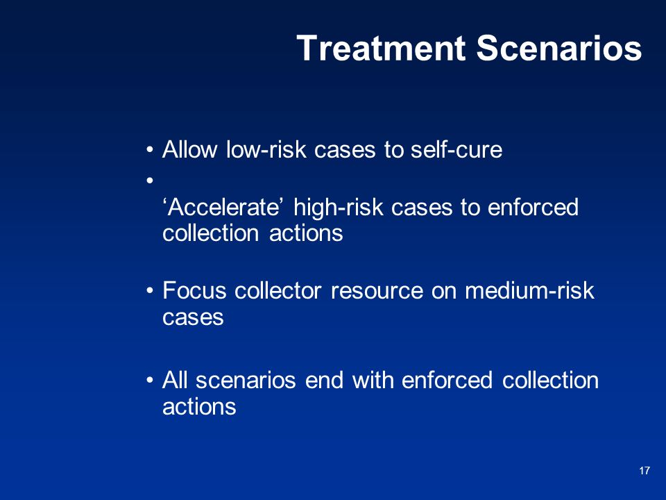 Treatment Scenarios Allow low-risk cases to self-cure