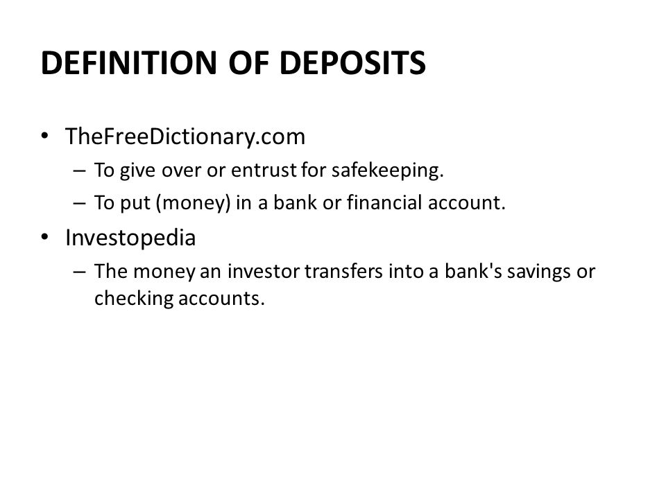 Deposits Ppt Video Online Download
