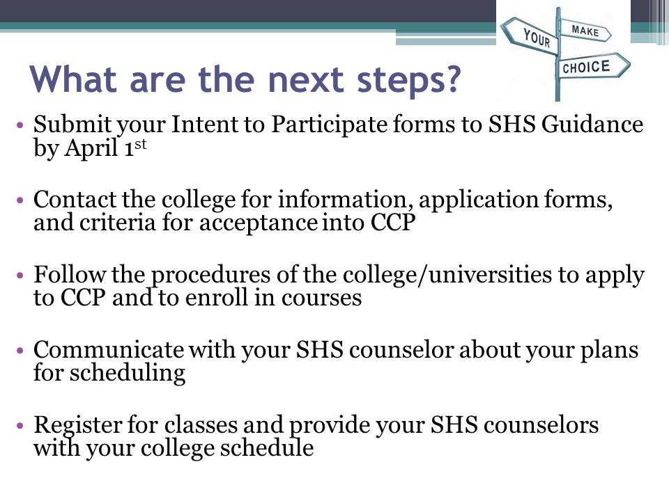 What are the next steps Submit your Intent to Participate forms to SHS Guidance by April 1st.
