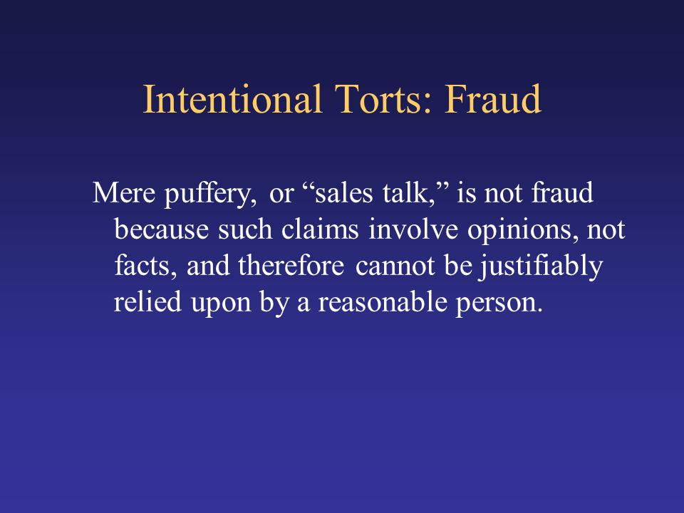 Intentional Torts: Fraud