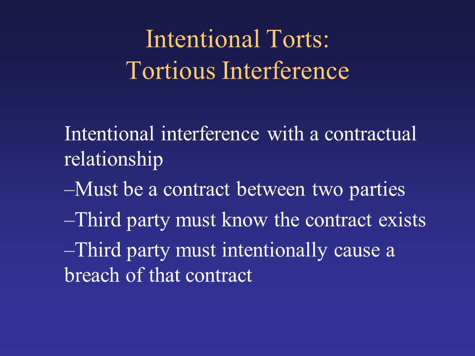 Intentional Torts: Tortious Interference
