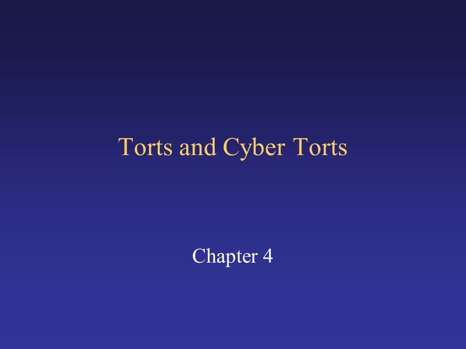 Torts and Cyber Torts Chapter 4