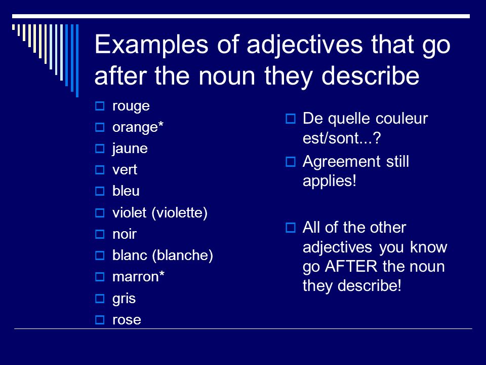 Examples of adjectives that go after the noun they describe