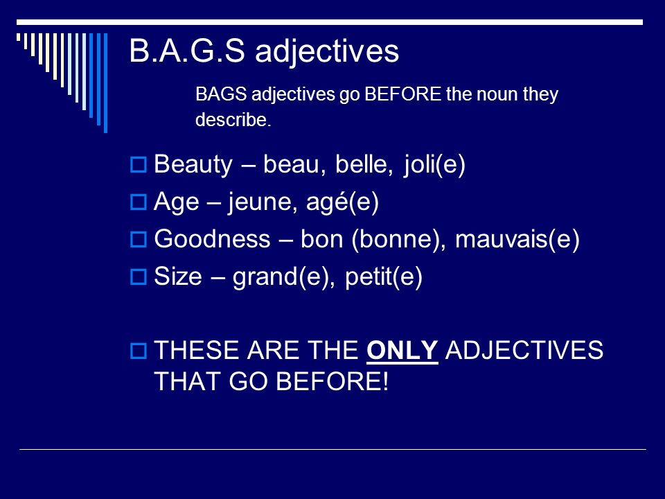 B.A.G.S adjectives BAGS adjectives go BEFORE the noun they describe.