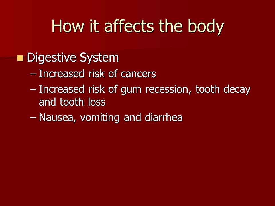 How it affects the body Digestive System Increased risk of cancers