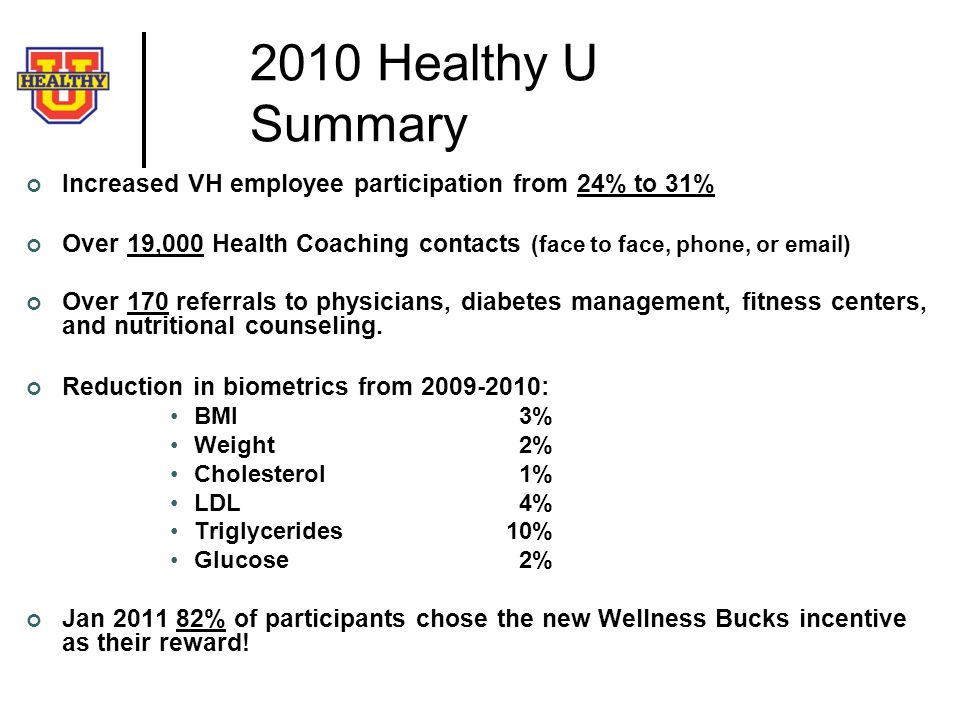 2010 Healthy U Summary Increased VH employee participation from 24% to 31% Over 19,000 Health Coaching contacts (face to face, phone, or  )