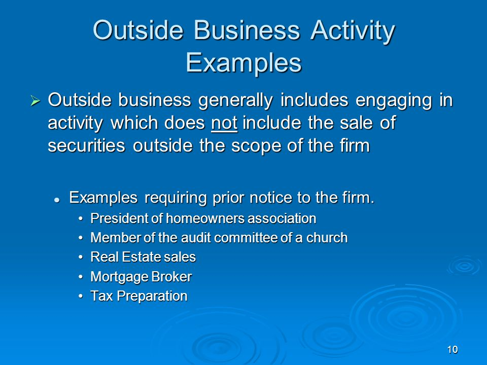 Outside Business Activity Examples