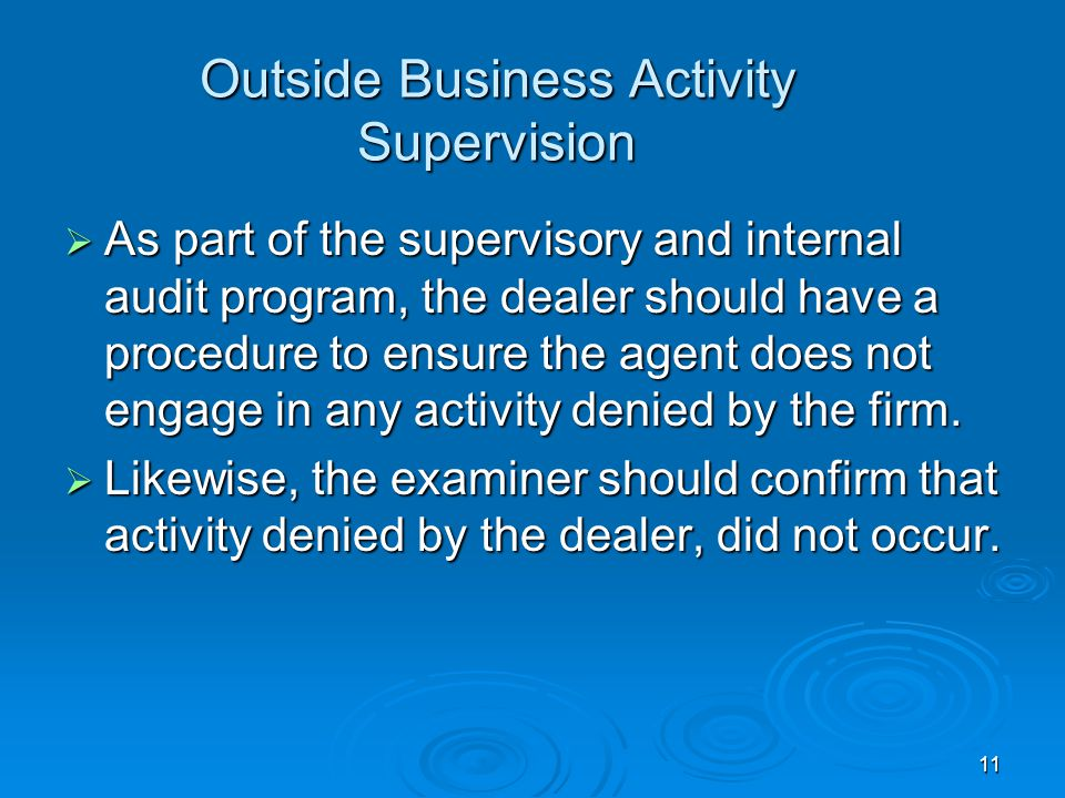 Outside Business Activity Supervision