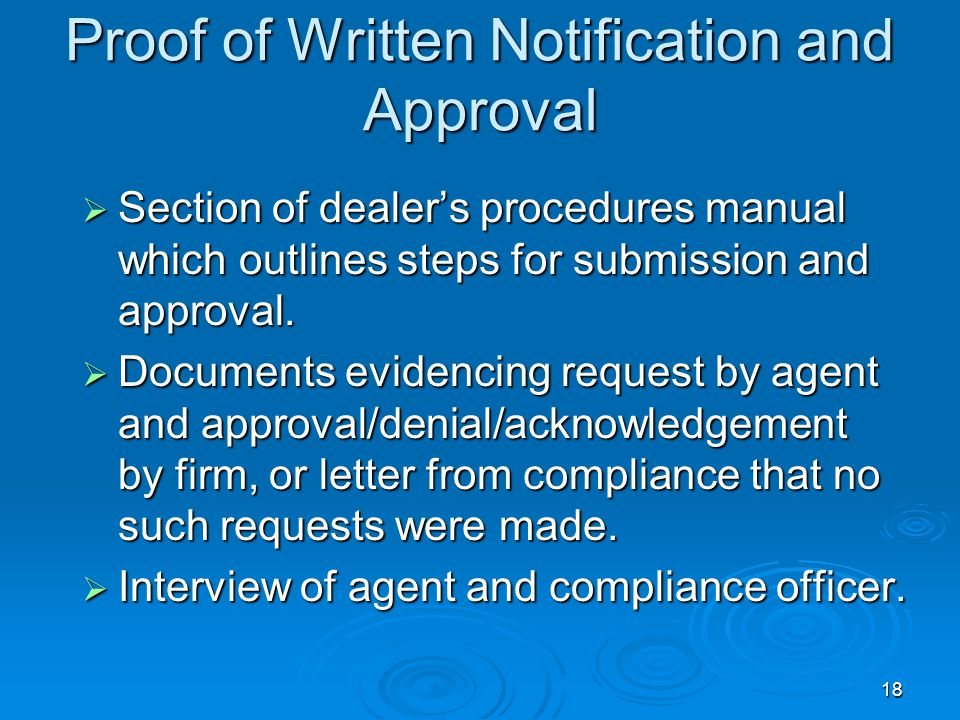 Proof of Written Notification and Approval