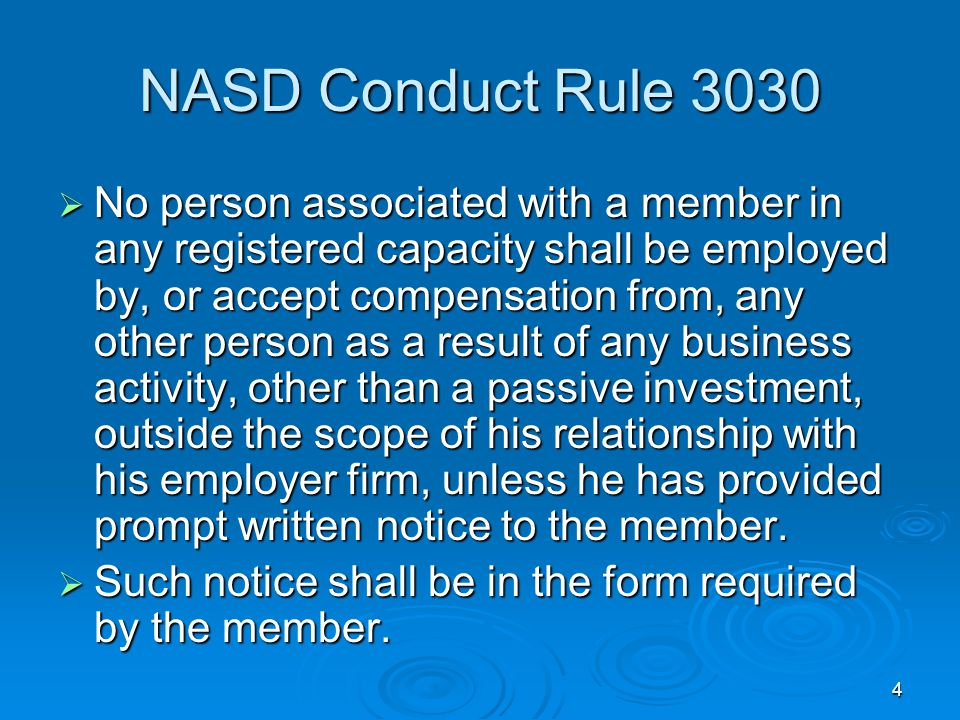 NASD Conduct Rule 3030