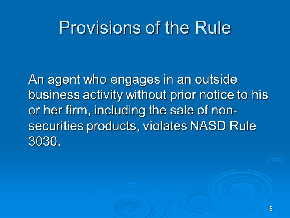 Provisions of the Rule