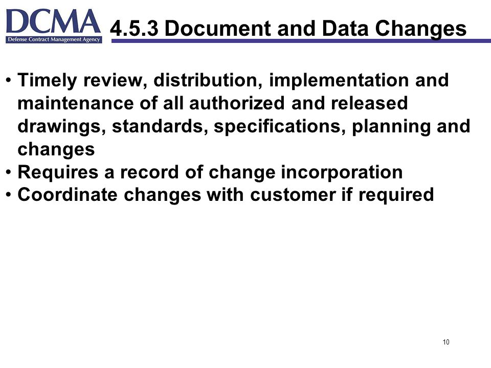 4.5.3 Document and Data Changes
