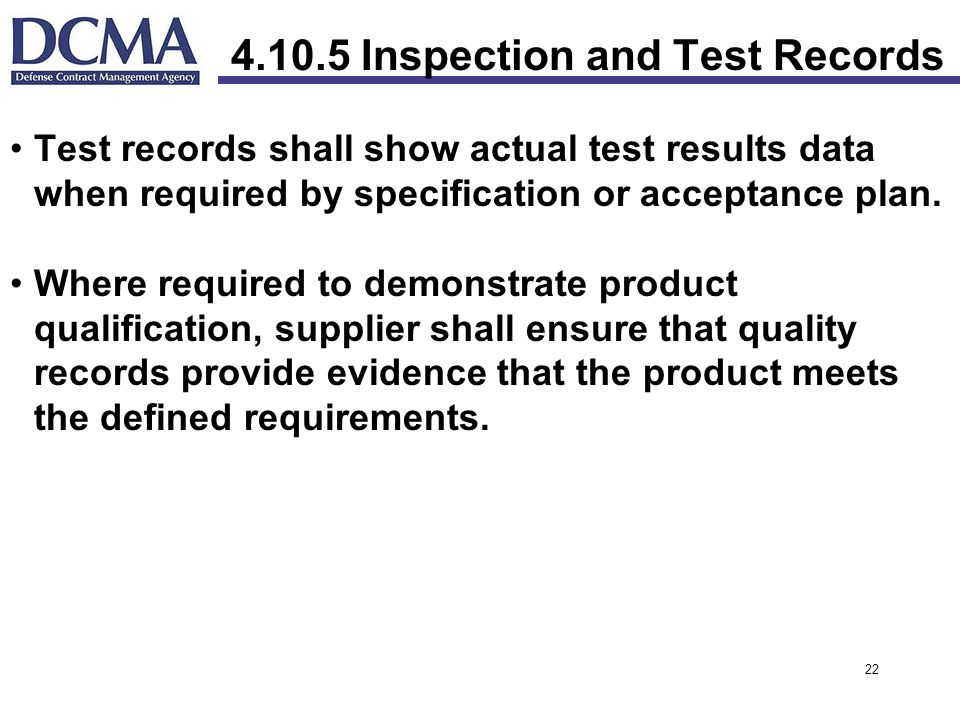 Inspection and Test Records