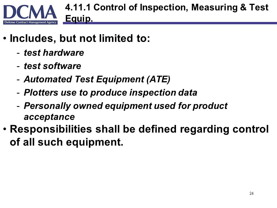 Control of Inspection, Measuring & Test Equip.