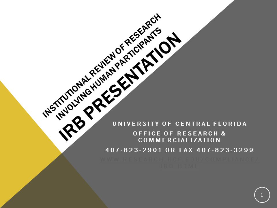 Institutional Review of Research Involving Human Participants IRB Presentation
